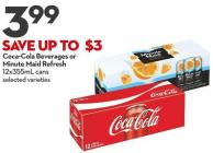 Coca-cola Beverages or Minute Maid Refresh 12x355ml Cans