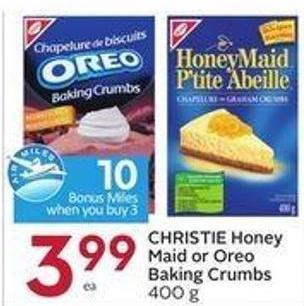 Christie Honey Maid or Oreo Baking Crumbs 400 g - 10 Air Miles Bonus Miles