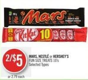 Mars - Nestlé or Hershey's Fun Size Treats 10's