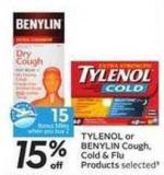 Tylenol or Benylin Cough - Cold & Flu Products - 15 Air Miles Bonus Miles