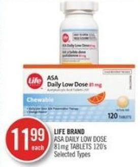 Life Brand Asa Daily Low Dose 81 Mg Tablets 120s