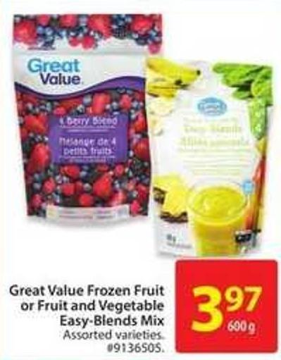 Great Value Frozen Fruit or Fruit and Vegetable Easy-blends Mix