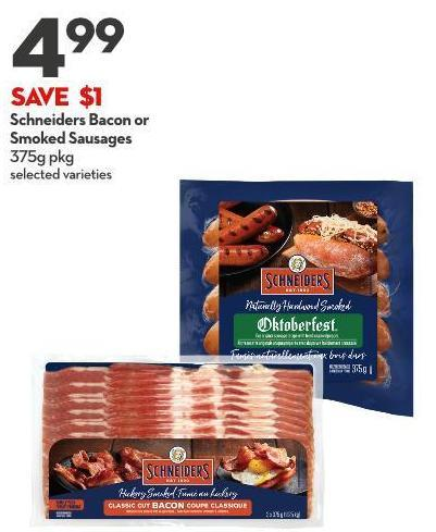 Schneiders Bacon or  Smoked Sausages 375g Pkg