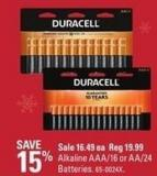 Duracell Alkaline Aaa/16 or Aa/24 Batteries