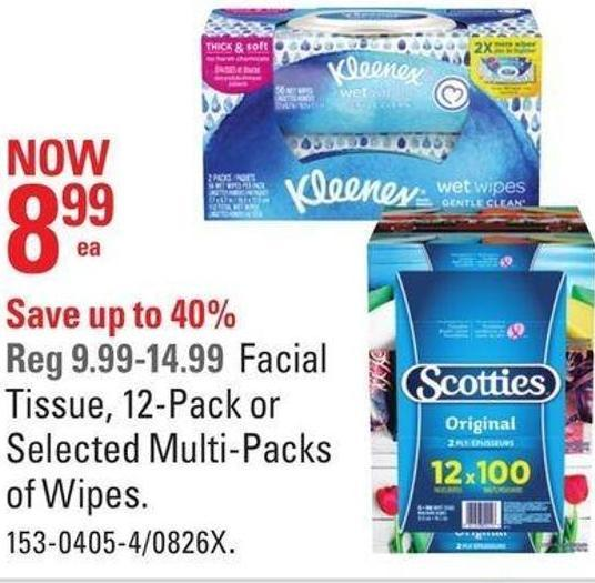 Tissue - 12-pack or Selected Multi-packs of Wipes