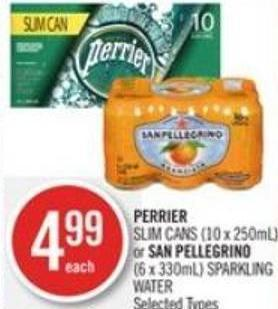 Perrier Slim Cans (10 X 250ml) or San Pellegrino (6 X 330ml) Sparkling Water