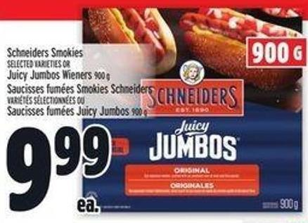 Schneiders Smokies Or Juicy Jumbos Wieners 900 g