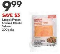 Longo's Frozen Smoked Atlantic Salmon 200g Pkg