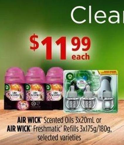 Air Wick Scented Oils - 3x20ml Or Air Wick Freshmatic Refills - 3x175g/180g