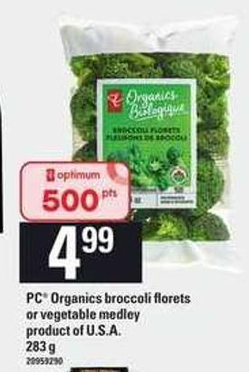 PC Organics Broccoli Florets Or Vegetable Medley - 283 g