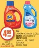 Tide Laundry Detergent (1.09l) - Bounce Sheets (80's) or Downy Liquid (946ml - 1.53l) Fabric Softener