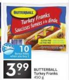 Butterball Turkey Franks - 10 Air Miles Bonus Miles