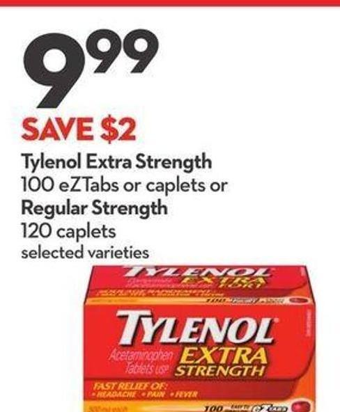 Tylenol Extra Strength 100 Eztabs or Caplets or Regular Strength