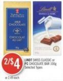 Lindt Swiss Classic or PC Chocolate Bar 100g