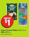 Grace Coconut Water 500 mL or Milk 400 mL
