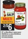 PC Or Blue Menu Pasta Sauce - 410/650 Ml Or Salsa - 415/650 Ml