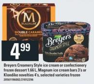 Breyers Creamery Style Ice Cream Or Confectionery Frozen Dessert 1.66 L - Magnum Ice Cream Bars 3's Or Klondike Novelties 4's