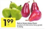Red or Green Anjou Pears Product of USA Extra Fancy Grade