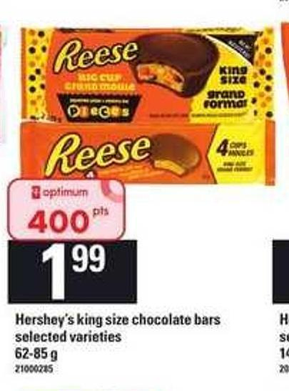Hershey's King Size Chocolate Bars - 62-85 g