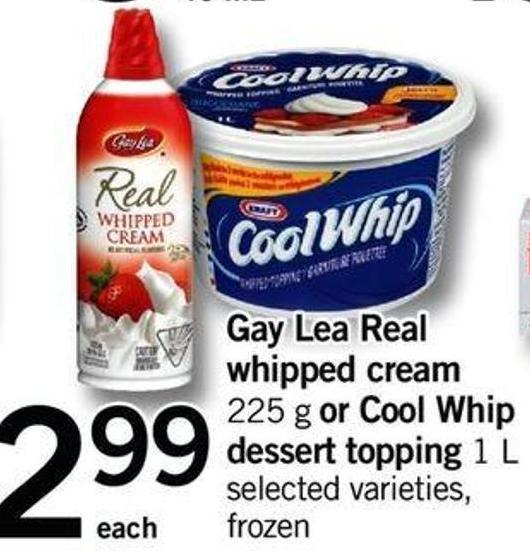 Gay Lea Real Whipped Cream - 225 G Or Cool Whip Dessert Topping - 1 L
