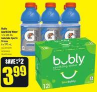 Bubly Sparkling Water 12 X 355 mL Gatorade Sports Drinks 6 X 591 mL