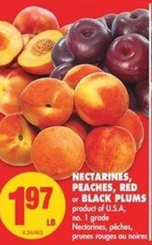 Nectarines - Peaches - Red Or Black Plums