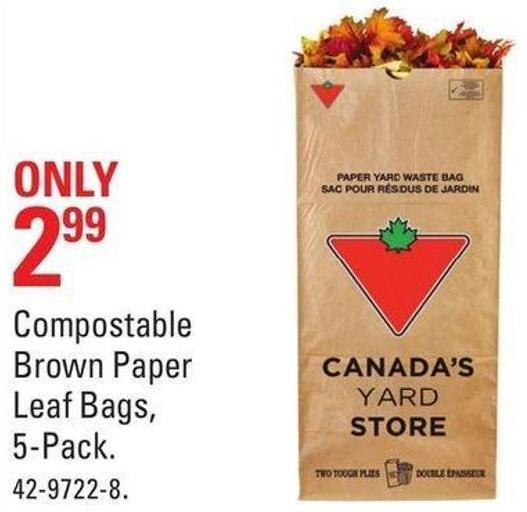 Compostable Brown Paper Leaf Bags - 5-pack