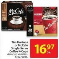 Tim Hortons or Mccafe Single-serve Coffee K-cubs 30's