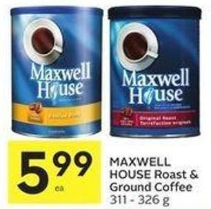 Maxwell House Roast & Ground Coffee 311 - 326 g 599 Snacks