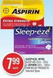 Sleepeze - Nytol Sleep Aid (16's - 20's) or Aspirin (60's - 100's) Pain Relief Products