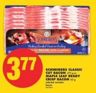 Schneiders Classic Cut Bacon - 375 g or Maple Leaf Ready Crisp Bacon - 65 g