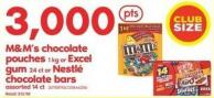 M&m's Chocolate Pouches - 1 Kg or Excel GUM - 24 Ct or Nestlé Chocolate Bars - Assorted 14 Ct