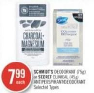 Schmidt's Deodorant (75g) or Secret Clinical (45g) Antiperspirant/deodorant
