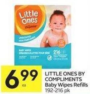 Little Ones By Compliments Baby Wipes Refills 192-216 Pk
