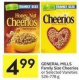 General Mills Family Size Cheerios or Selected Varieties 526-778 g