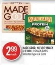 Made Good - Nature Valley or Fibre 1 Snack Bars