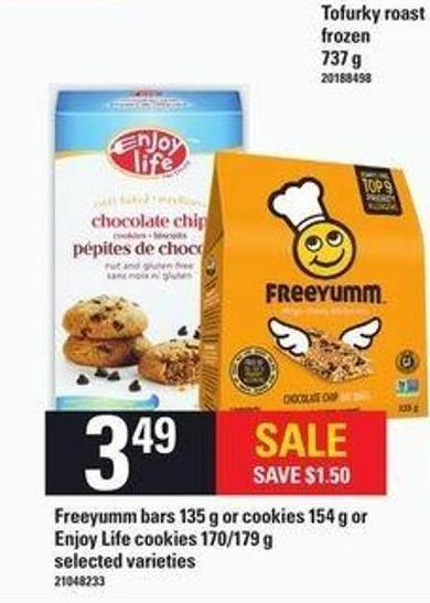 Freeyumm Bars - 135 G Or Cookies - 154 G Or Enjoy Life Cookies - 170/179 G