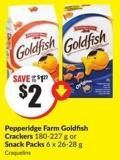 Pepperidge Farm Goldfish Crackers 180-227 g or Snack Packs 6 X 26-28 g
