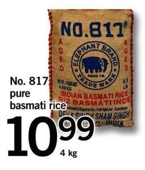 No. 817 Pure Basmati Rice - 4kg