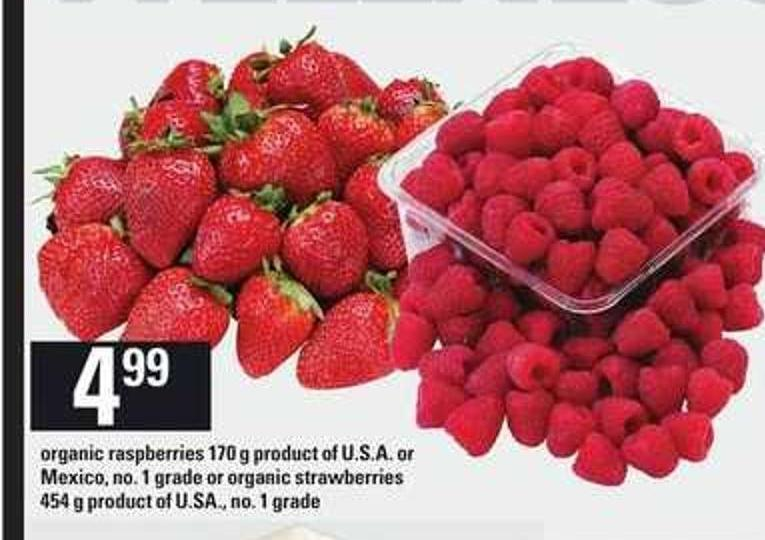 Organic Raspberries - 170 g Or Organic Strawberries - 454 g