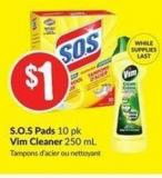 S.o.s Pads 10 Pk Vim Cleaner 250 mL