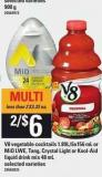 V8 Vegetable Cocktails - 1.89l/6x156 Ml Or Mio Lwe - Tang - Crystal Light Or Kool-aid Liquid Drink Mix - 48 Ml