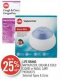 Life Brand Vapourizer - Cough & Cold Liquid or Nasal Care Products