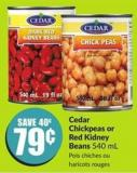 Cedar Chickpeas or Red Kidney Beans 540 mL
