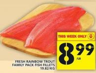 Fresh Rainbow Trout Family Pack Fish Fillets
