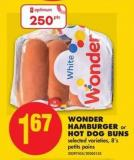 Wonder Hamburger or Hot Dog Buns - 8's