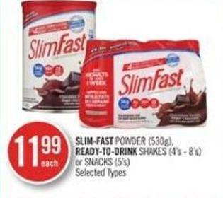 Slim-fat Powder (530g) - Ready-to-drink Shakes (4's - 8's) or Snacks (5's)