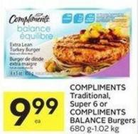 Compliments Traditional - Super 6 or Compliments Balance Burgers 680 G-1.02 Kg