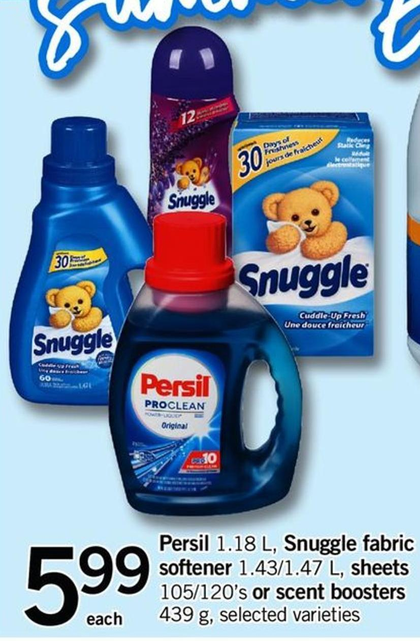 Persil - 1.18 L - Snuggle Fabric Softener - 1.43/1.47 L - Sheets - 105/120's Or Scent Boosters - 439 G