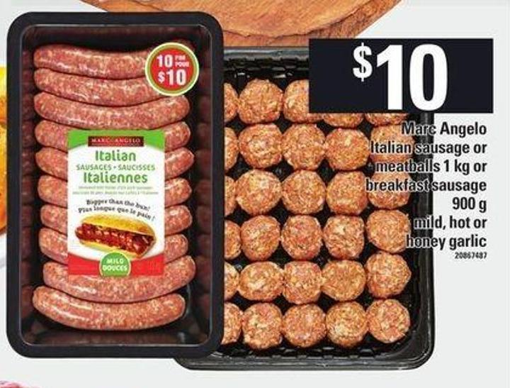 Marc Angelo Italian Sausage Or Meatballs - 1 Kg Or Breakfast Sausage - 900 g
